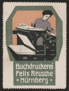 Reklamemarke Buchdruckerei