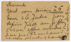 Toulouse-Lautrec: handschriftliche Telegramm-Karte