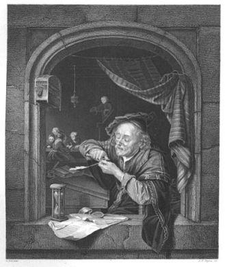 Der Schreibmeister / Stahlstich von Gerard Dow