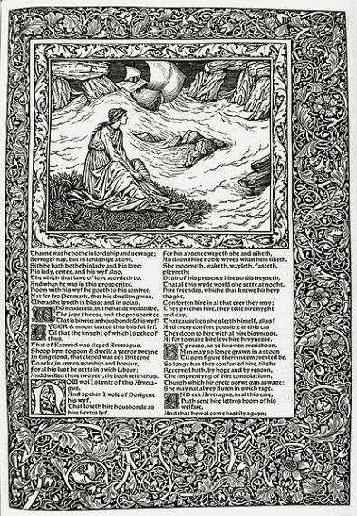 "Seite aus dem ""Kelmscott-Chaucer; llustration: Edward Burne-Jones, Typographie: William Morris"