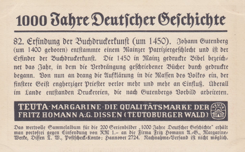 Reklamesammelbild Homann Rückseite
