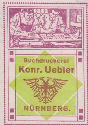 Reklamemarke Buchdruckerei Uebler