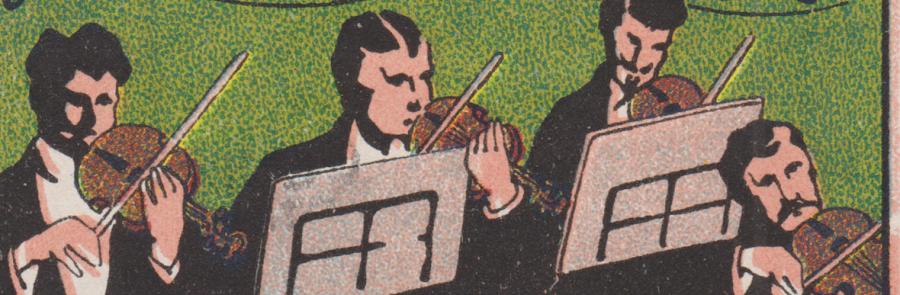 Sammelstück des Monats [16]: Reklamemarke Musikinstrumente Stark