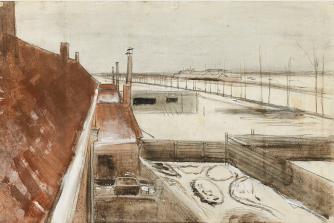 View from window of Vincents studio in winter II 1883