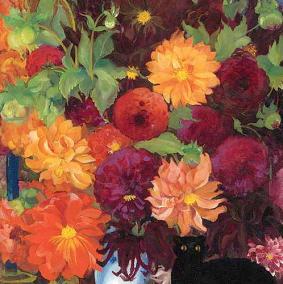 boris-anisfeld-still-life-with-flowers-and-a-black-cat